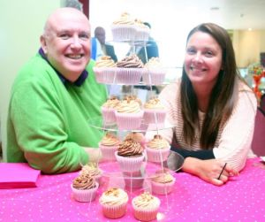 Organiser Steve Bissex-Williams with Kelly Molmoth of Cupcakes whose stall proved particularly popular. (Photo: Phil Mansell)