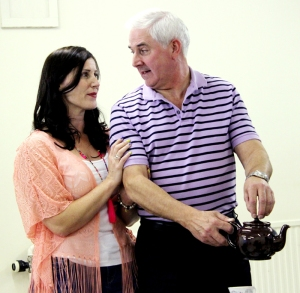 Claudia (Angharad Jones) admires David (Bob Brown) for his tea-making skills (PHOTO: PHIL MANSELL)
